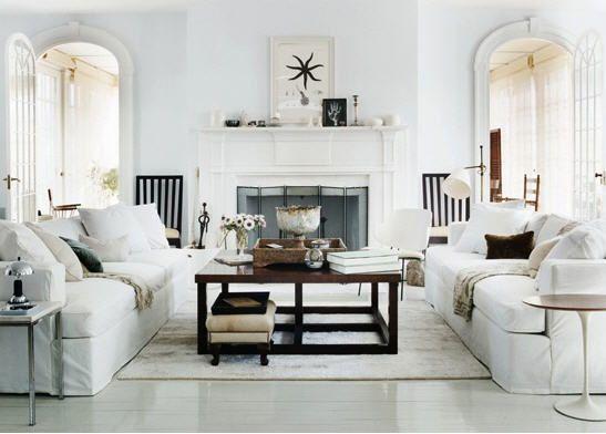 Thomas O Brien White Rustic Modern New Traditional Living Room Rustic Living Room Living Room White White Rooms