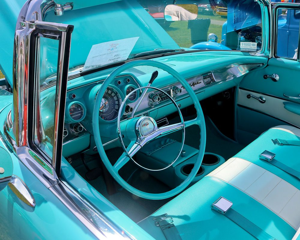 1957 Chevy Bel Air Turquoise Blue Dashboard With Matching Steering