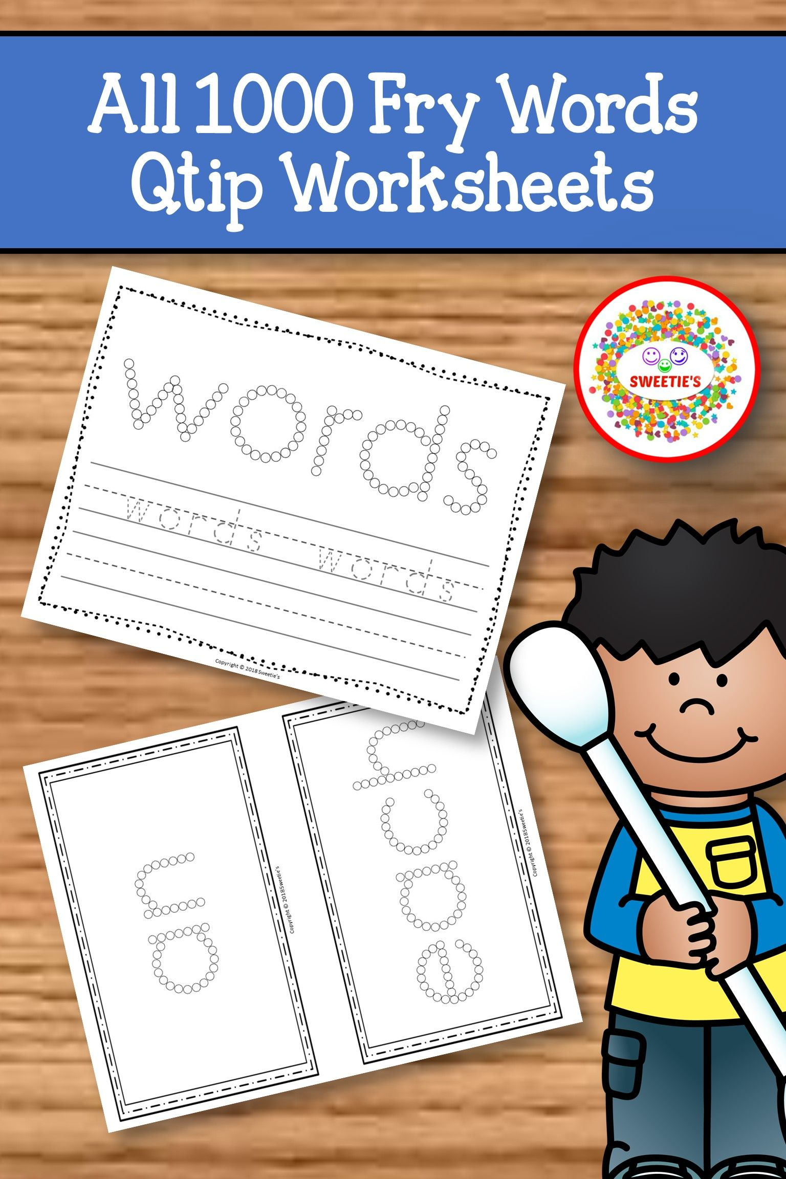 Fry Sight Word Activities Worksheets With Q Tip Painting