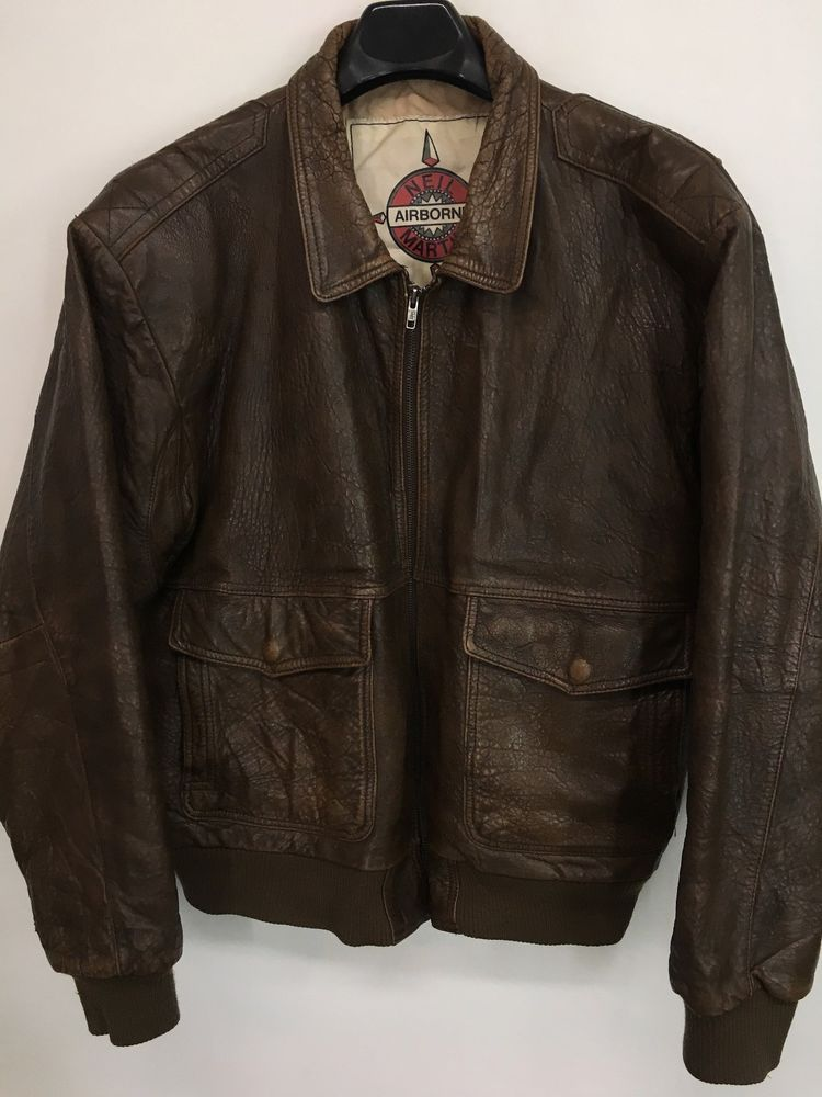 Mens 3xl neil martin airborne leather bomber jacket brown full-zip ...