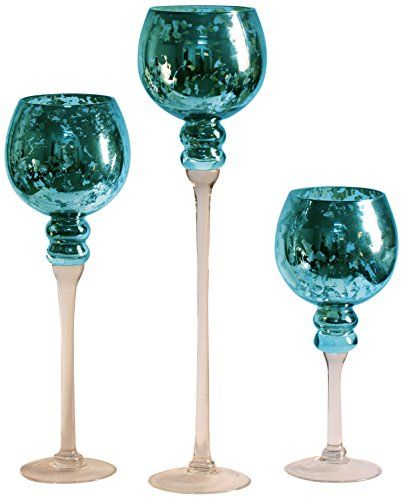 Add unique beauty to your home with mercury glass decorative accents.  These mercury glass decorations look good with all kinds of home decor themes from vintage, Tuscan, Country, Modern, Rustic or cottage.  These work well in almost every room also from living rooms, kitchens to dens.  Easily transform your home with these trendy, popular and cool home decor accents.   mercury glass decorations, mercury glass decorative accents, m  Privilege 37005 Mercury Glass Stem Vases, 3-Piece, Blue