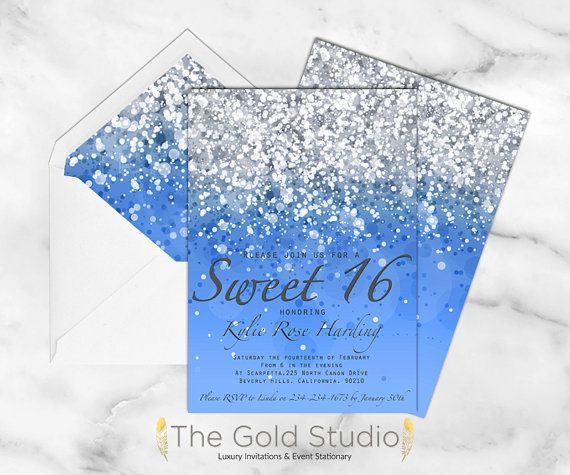 Royal Blue And Silver Sweet 16 Invitations #sweet16birthdayparty