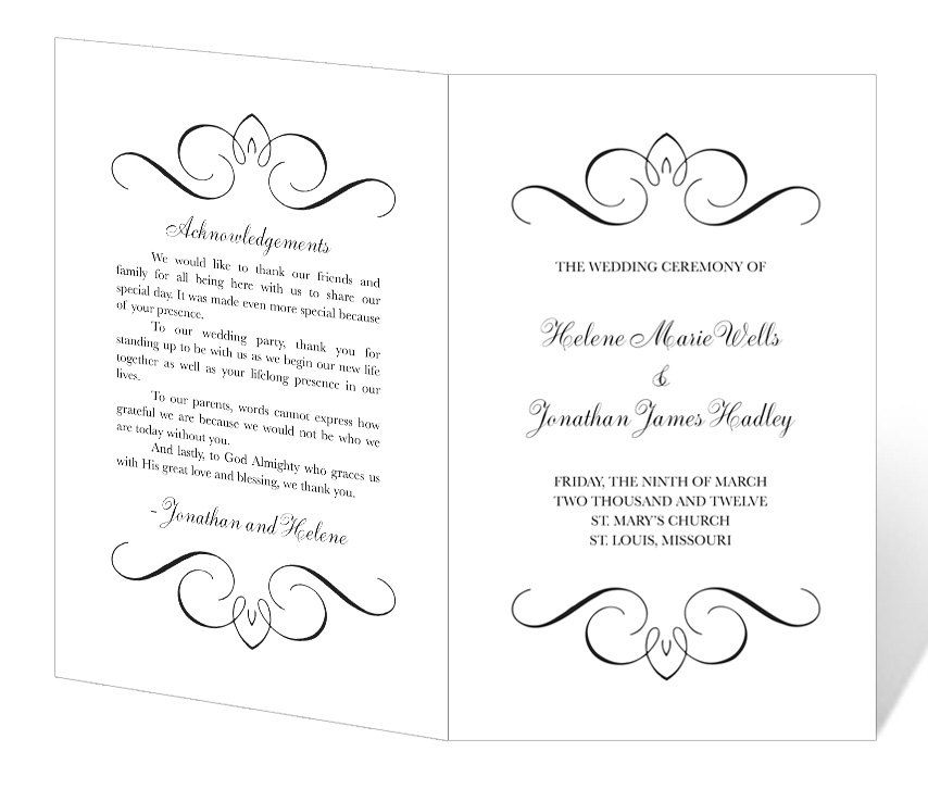 Wedding Program Template Printable   INSTANT DOWNLOAD   Calligraphy Flourish  Printable Program Templates