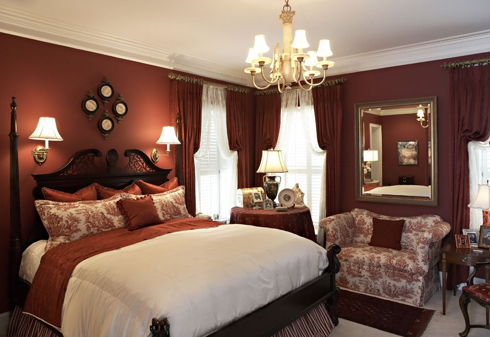 window treatment ideas for arched windows elegant red master bedroom mix and match patterns - Elegant Master Bedroom Ideas
