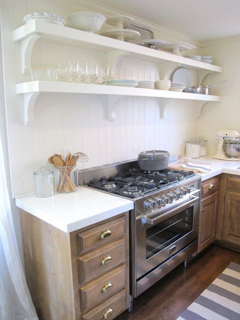 Inexpensive Kitchen Makeover: Replace Backsplash With White Wooden  Paneling, Replace Cabinets With Open Shelving