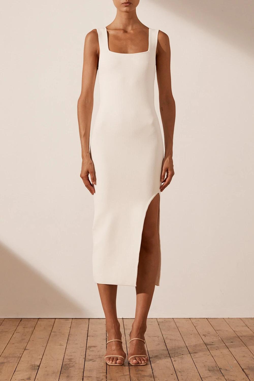 Basic Square Neck Midi Dress Ivory In 2021 Midi Dress Dresses Simple White Dress [ 1500 x 1000 Pixel ]