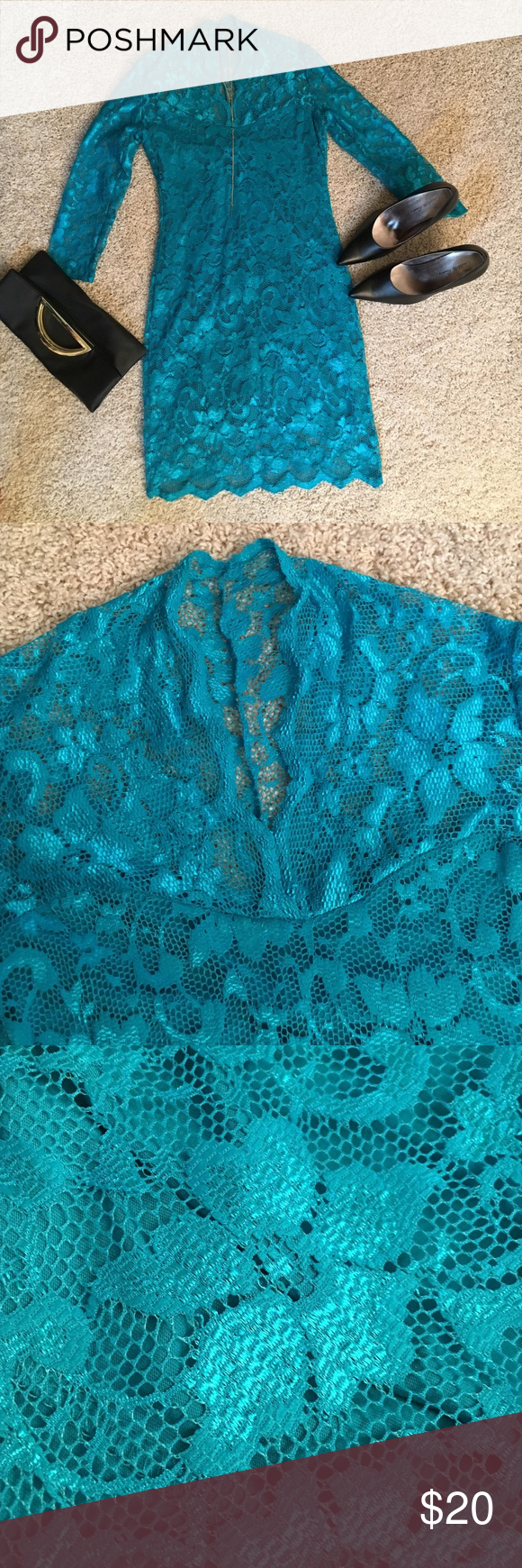 Brand New Teal Lace Dress Brand new never worn! Perfect condition, I got it to wear to a Christmas party and just went with another option. Very stretchy material says size 8 on the tag but would prob fit anywhere from a size 4-8. V-neck with a little scalloped collar. The bottom is also scalloped. There is a lining sewn in from the bust that creates a sweetheart neckline to about 3 inches before the bottom. Make an offer or bundle and save! Dresses