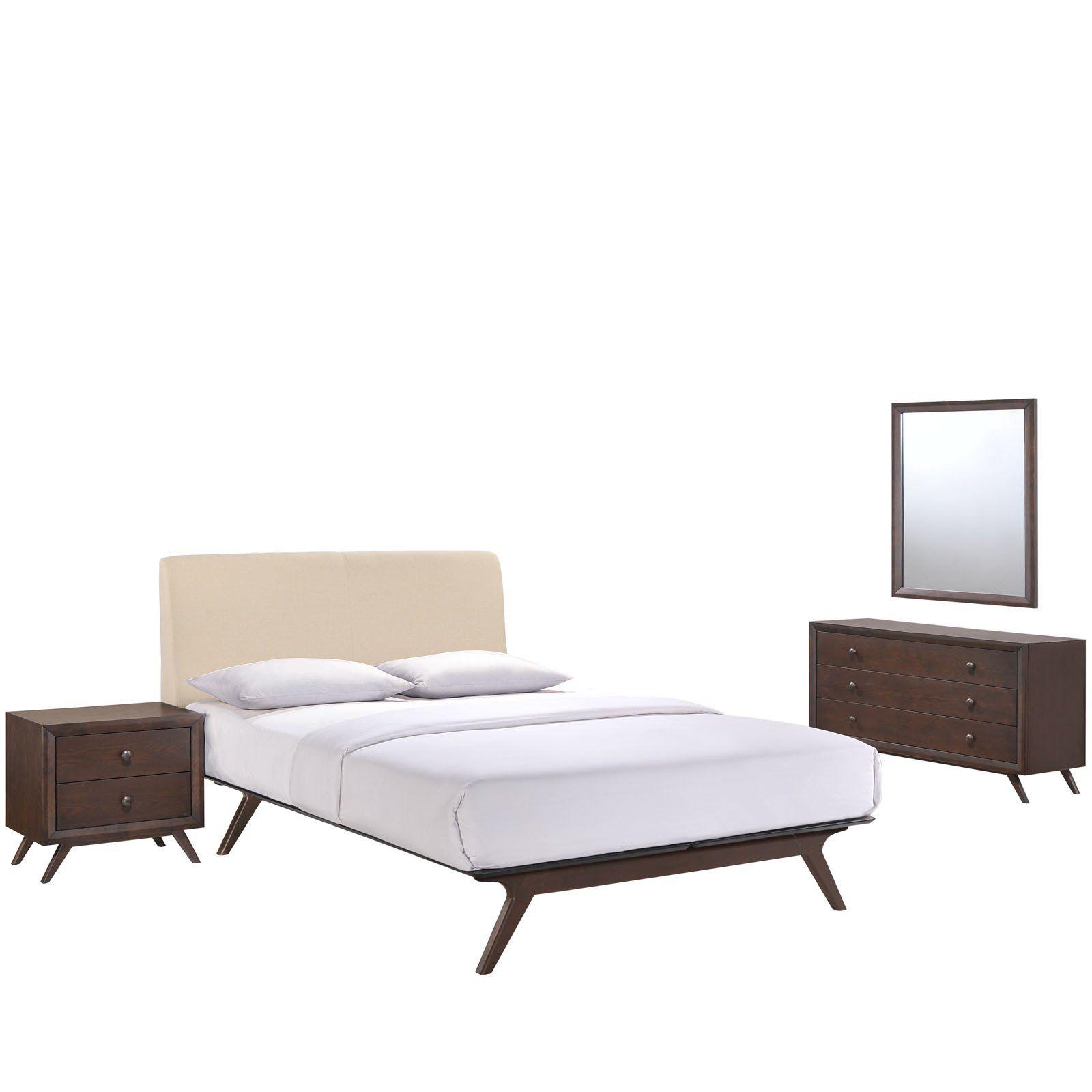 Best Truman Mid Century 4 Piece Queen Bedroom Set Queen 400 x 300
