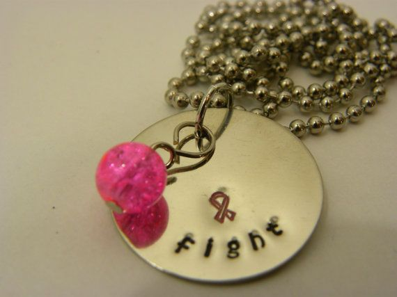 Breast cancer awareness  FIGHT   hand by WhisperingMetalworks, $16.00