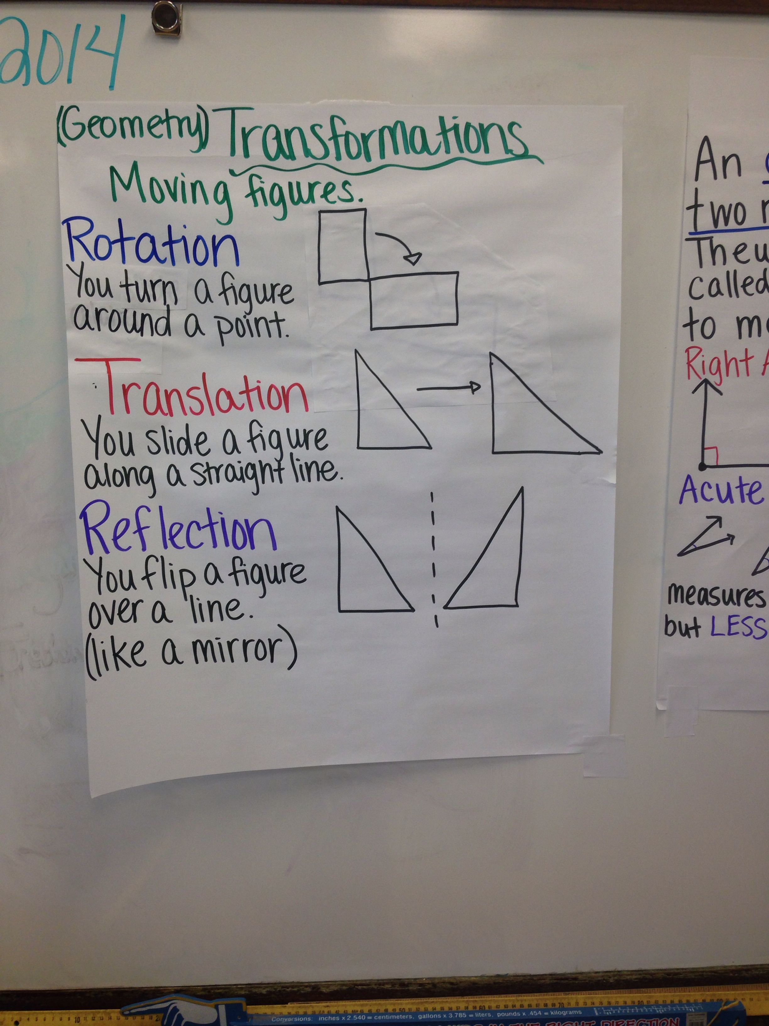 Transformations: rotation reflection translation of figures geometry ...