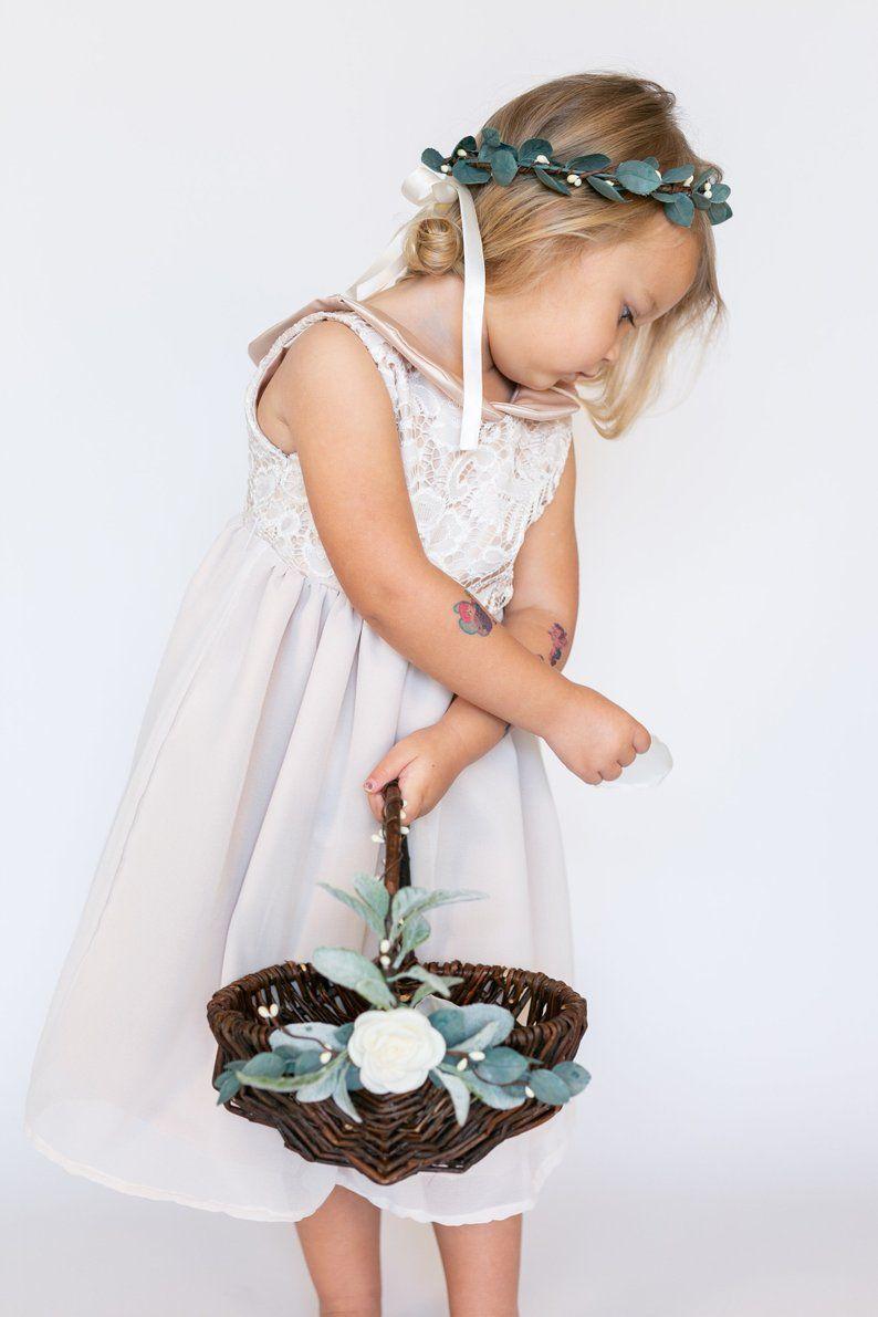 e33472b073091 Flower Girl Basket and Greenery Halo Set   Flower Crown   Wedding ...