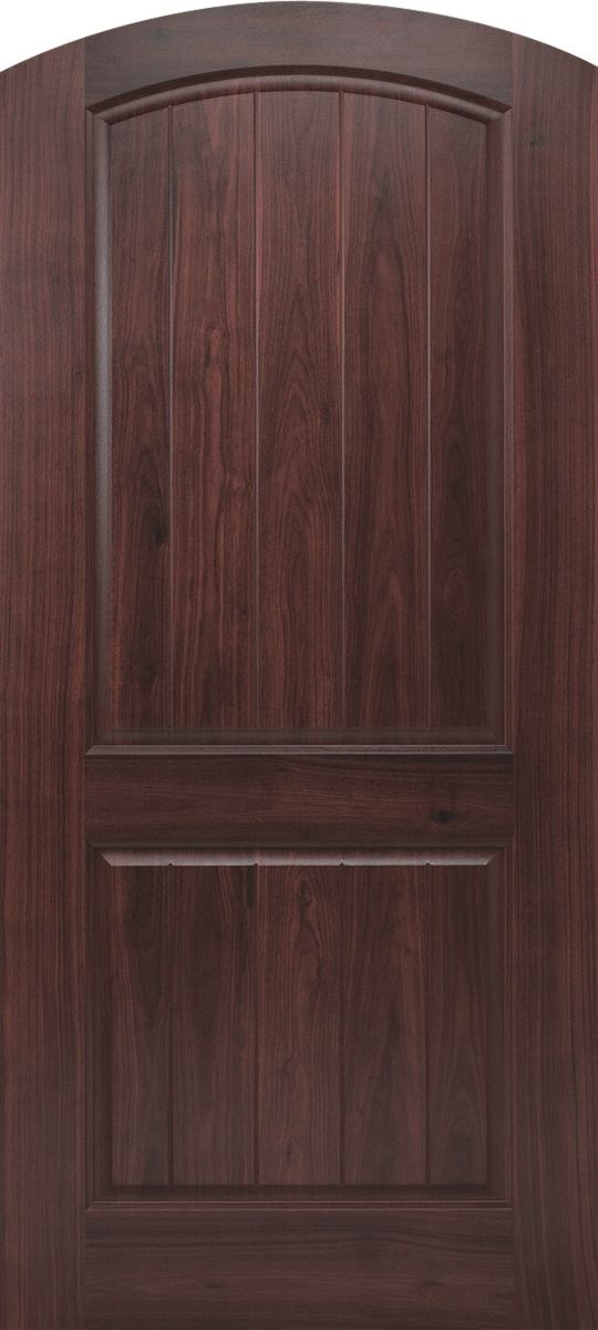 Beau Barrington Sierra Radius Top Rail 2 Panel Plank Camber Top Door With  AvantGuard Black Walnut Finish