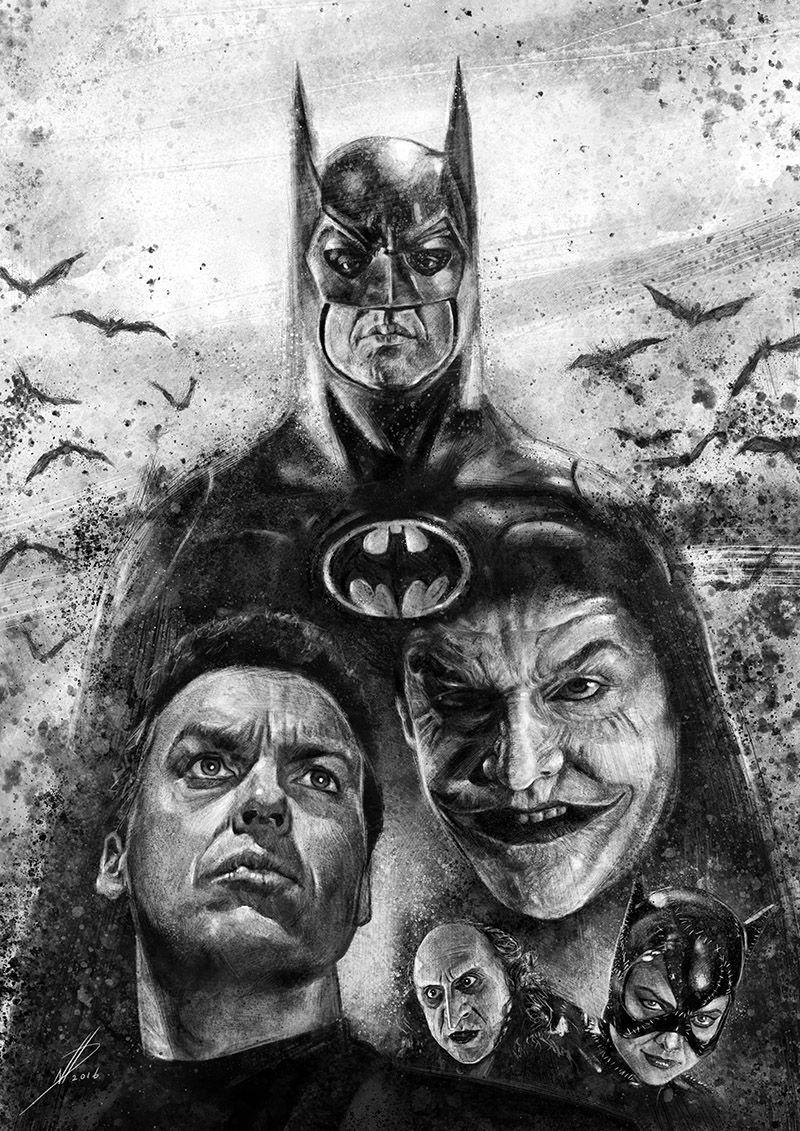 BATMAN RETURNS Movie Silk Fabric POSTER 1992 DC Comics Superman Joker
