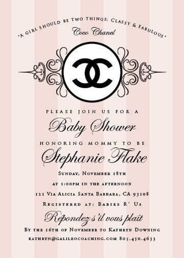 Coco Chanel Themed Party Invitations cimvitation Mommys
