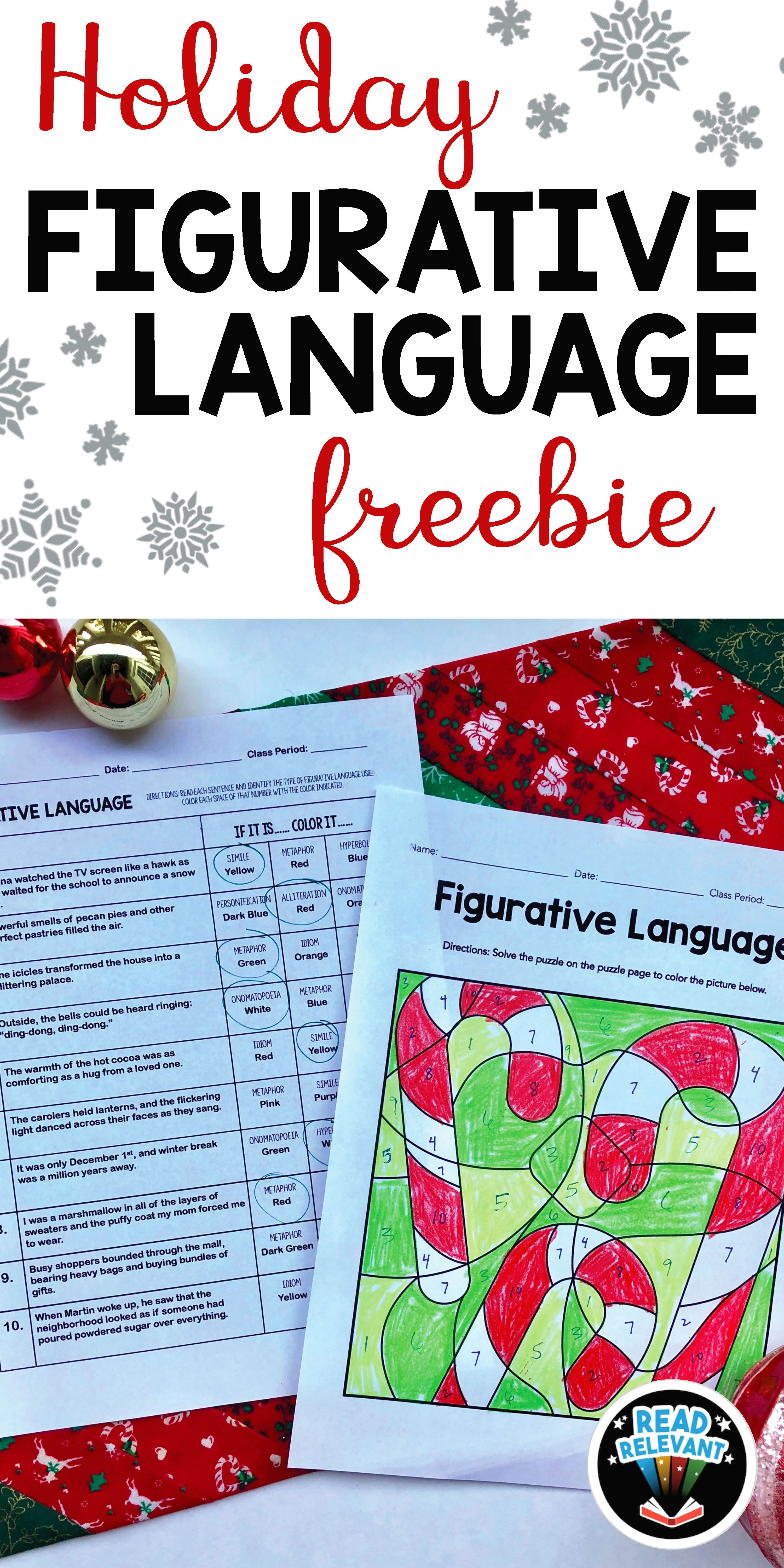 Holiday Figurative Language Freebie Fun No Prep Coloring