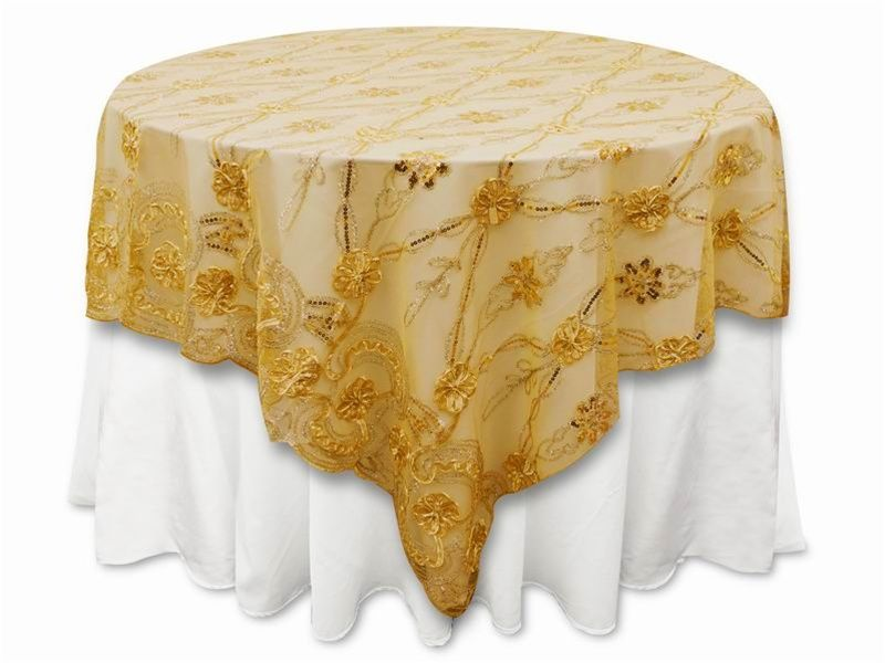 72 X72 Fashionista Table Overlays Gold Lace Netting Tablecloths Factory