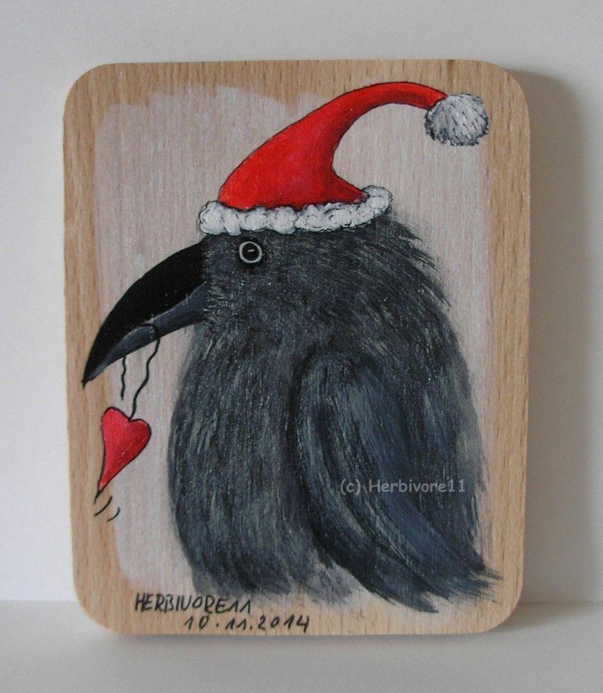 WEIHNACHTSRABE BRINGT EIN HERZCHEN von Herbivore11 Rabe Raben Weihnachtsmann