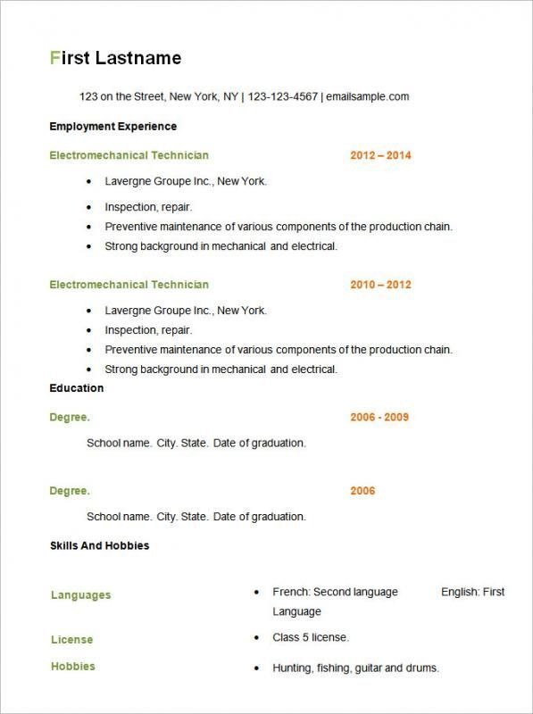 Simple Resume Format Check more at   nationalgriefawarenessday - example of simple resume for job application