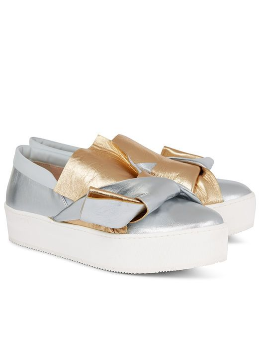 Metallic Bow Slip-On Sneakers