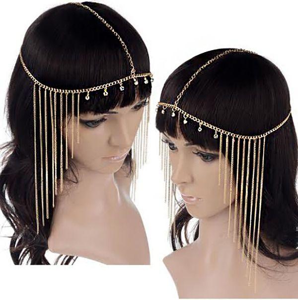 Gold Rhinestones Egyptian Costume goddess Hair Head Chain Headpiece Headband   eBay