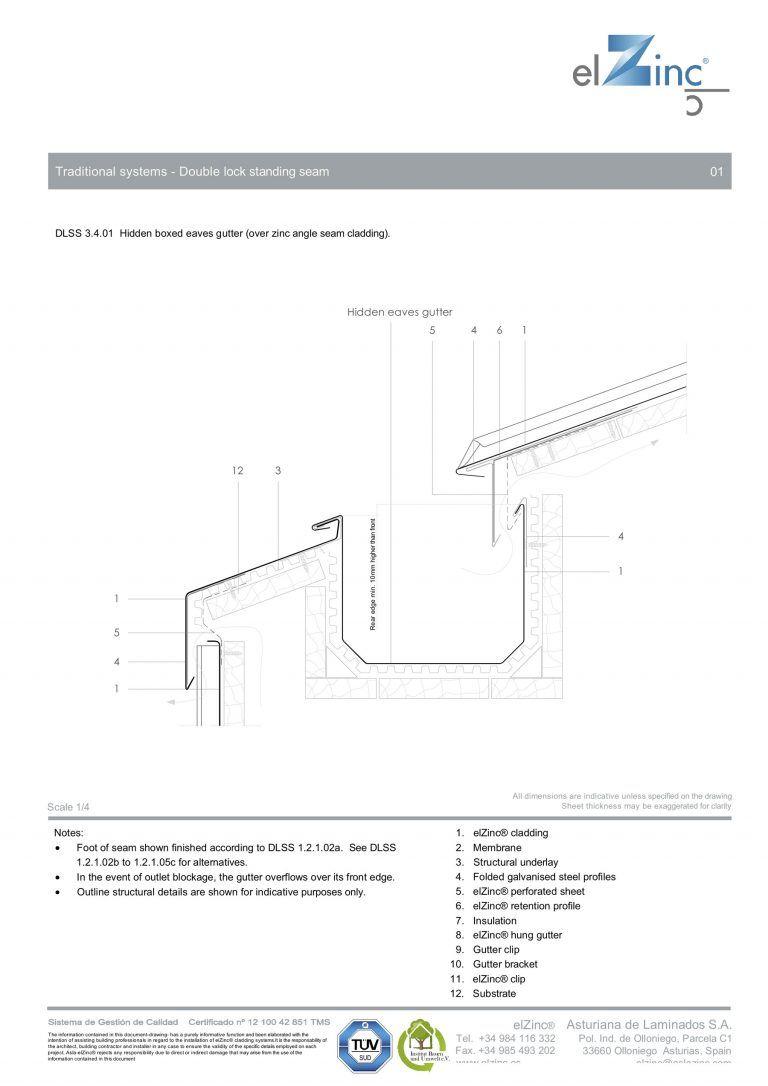 Ventilated Hidden Eaves Box Gutter Detail In Zinc Sig Zinc