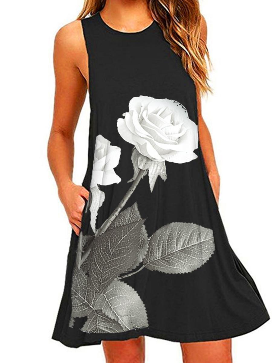 61ac0e528b #EnvyWe #BerryLook - #berrylook Round Neck Floral Printed Shift Dress -  EnvyWe.com