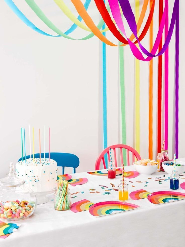 Birthday Brights Rainbow Streamers - Rainbow first birthday, Rainbow birthday party, Rainbow unicorn birthday, Rainbow birthday, Rainbow parties, Rainbow party decorations - Talking Tables Birthday Brights Rainbow Streamers