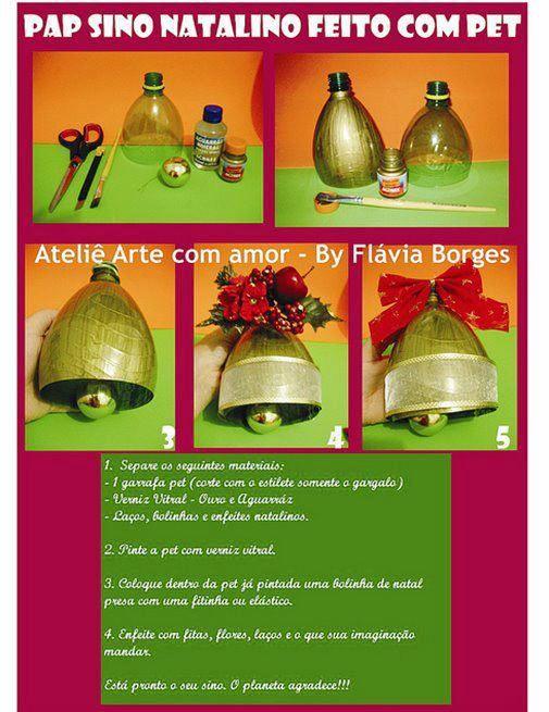 Como fazer enfeite de natal com garrafas PET Natal Enfeites de natal com garrafa pet  # Enfeites De Natal Com Garrafas Pet Passo A Passo