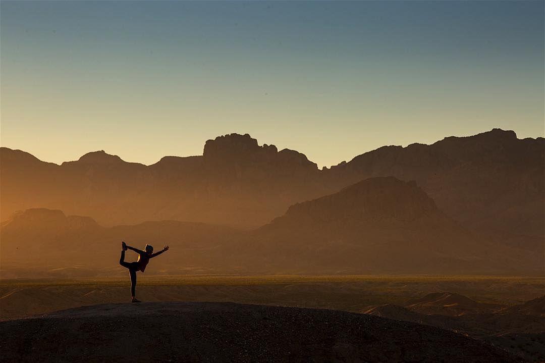 #Balance at #sunset. @andrewrslaton #visitbigbend #visittexas #namaste #yogalife by nourishmyroots