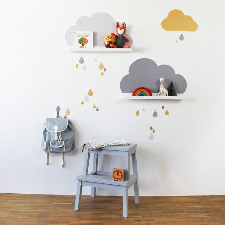 Wandtattoo Wolken für IKEA Bilderleiste Farbe Grau