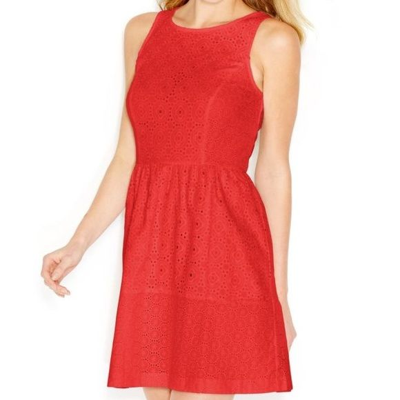 "Kensie red sleeveless eyelet dress Beautiful dress brand new with tags. Measurements measured flat and un stretched: shoulder to shoulder 11"", armpit to armpit 16.5"", total length 34.5""  gorgeous dress for the spring and summer! Color sold out online and in stores! Kensie Dresses"