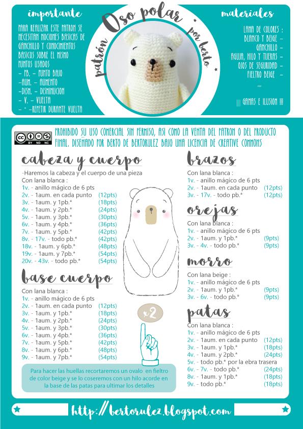 patron-oso-polar.png (595×842) | amigurumi | Pinterest | Navidad ...