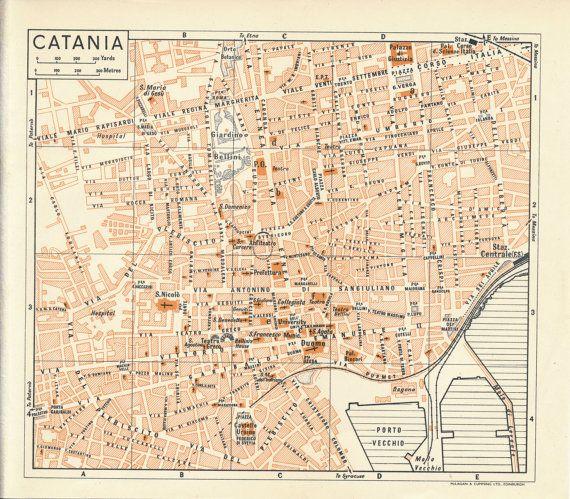 1959 Catania Sicily Italy Antique Map Catania Sicily italy and
