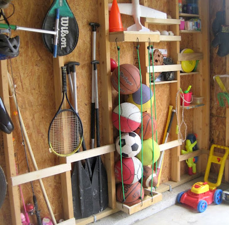 10 id es d 39 utilisation des bons vieux c bles lastiques garages rangement garage garage. Black Bedroom Furniture Sets. Home Design Ideas