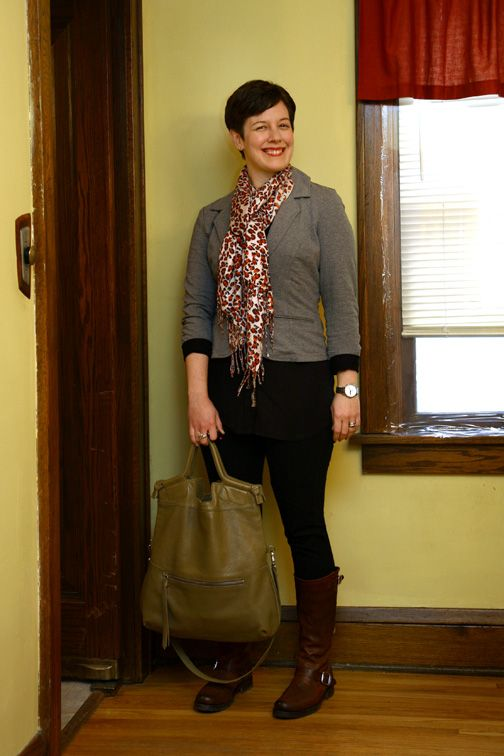 Jersey knit blazer, leopard scarf, ponte pants, Frye boots