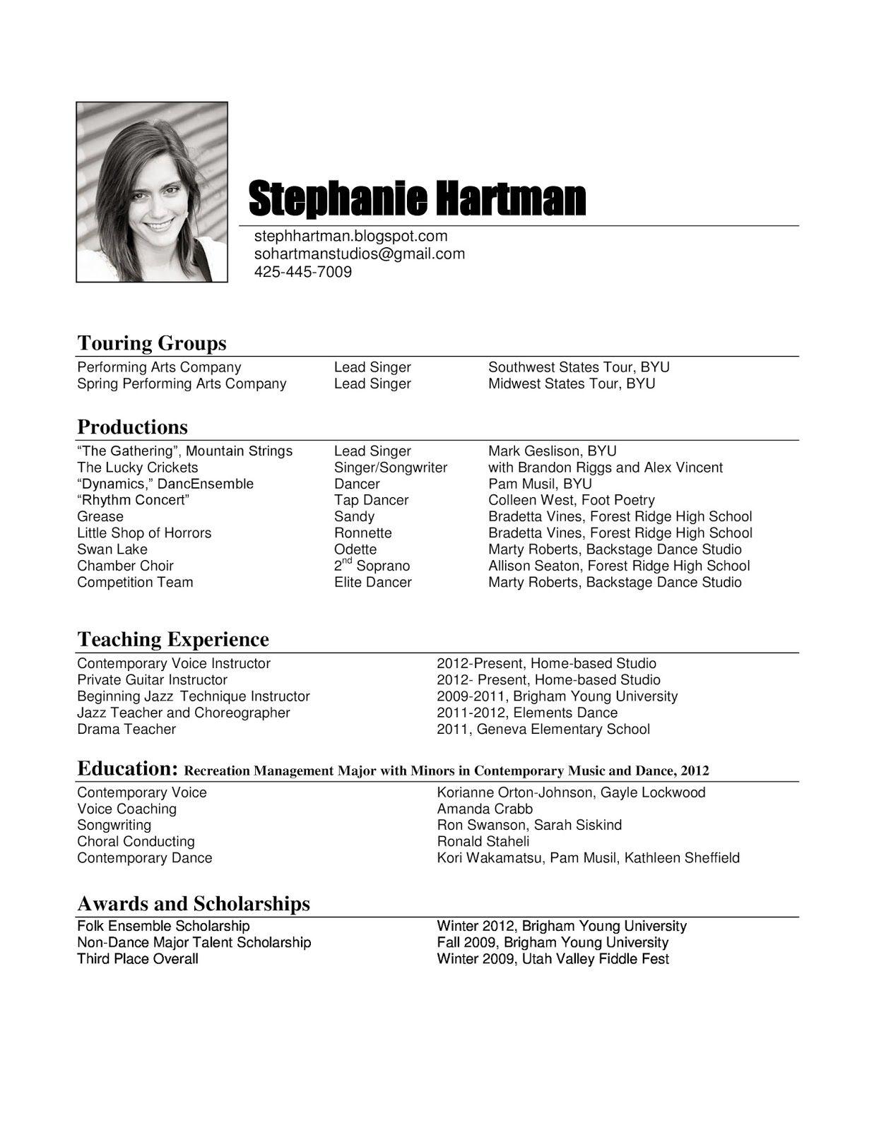 Image result for musician cv Resume examples, Teacher