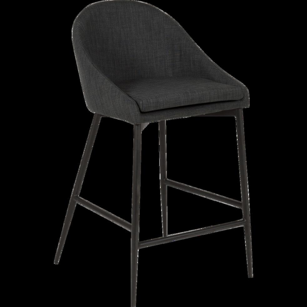 Chaise De Bar En Tissu Gris Fonce Pieds Metal Noir H66cm Abby Tabouret De Bar Tissu Gris Chaise Bar Chaise Plan De Travail