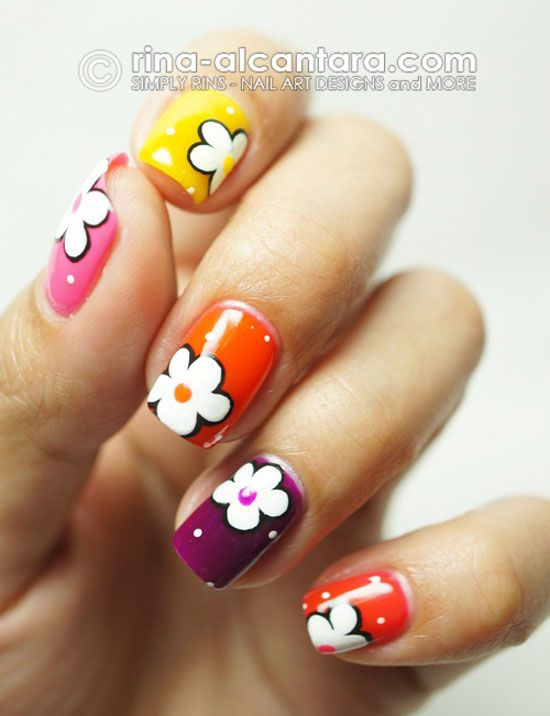 Simply Rins: Deborah Lippmann Run the World (Girls) and Some Flowers Nail  Art Design - 15-Easy-Simple-Spring-Flower-Nail-Art-Designs-Trends-Ideas-2013-4
