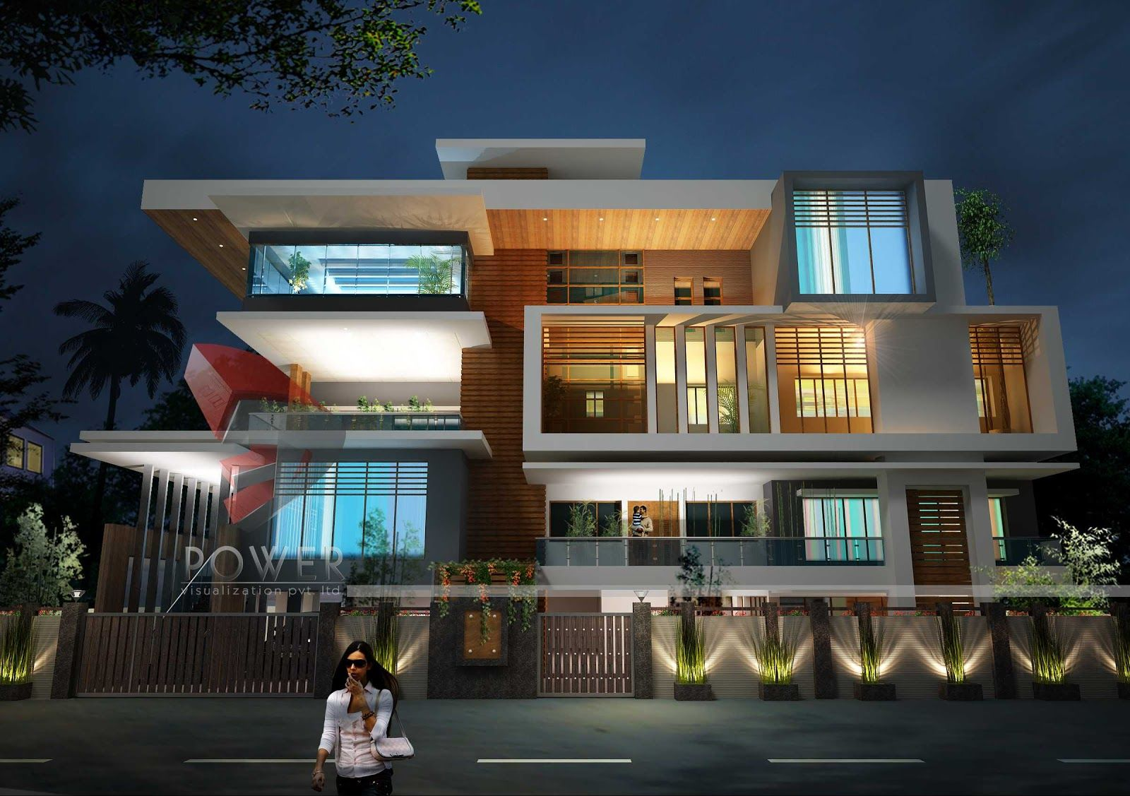 Front compound wall elevation design google for Modern house designs 3d