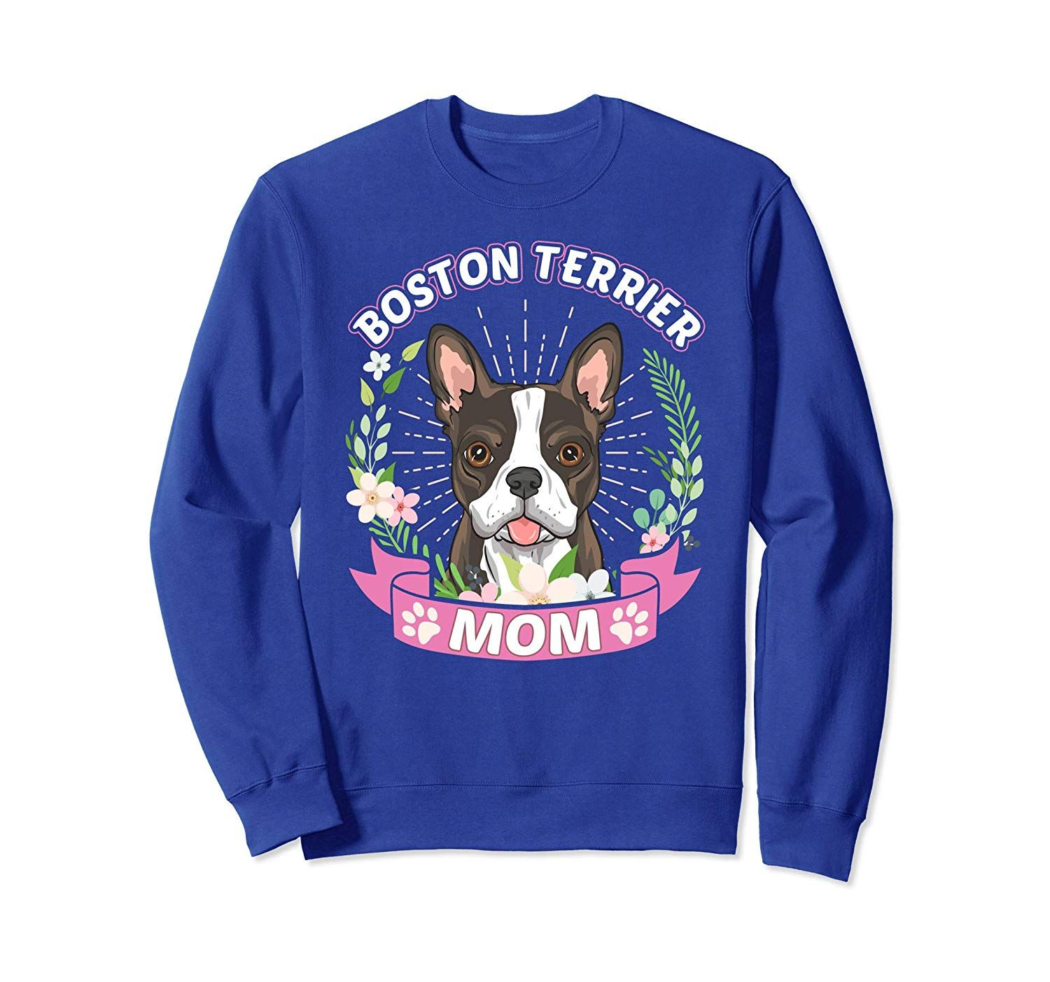 Dog Breed Shirts For Women Boston Terrier Mom Sweatshirt Yolotee Boston Terrier Dog Breeds Sweatshirts
