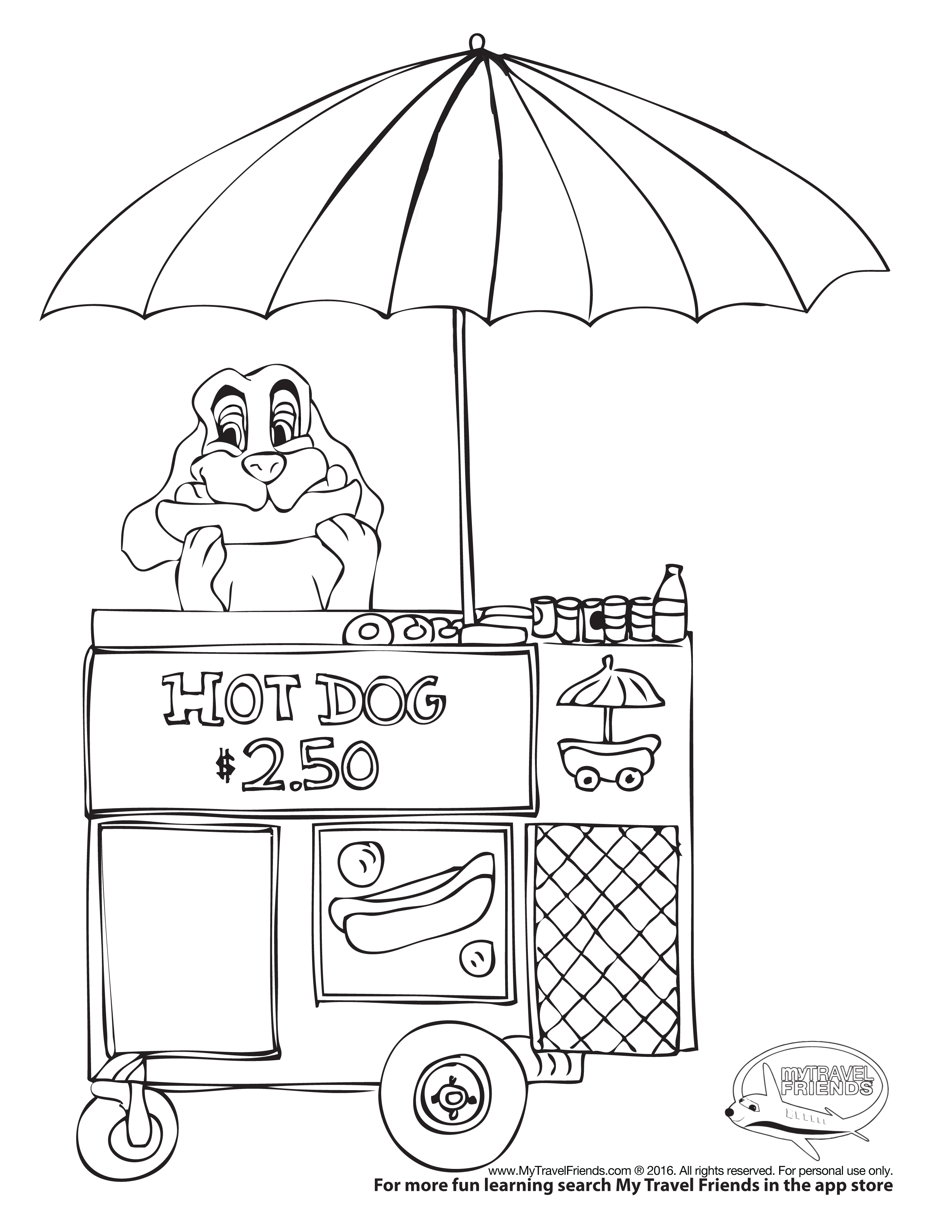 Hot DOG - COLORING PAGE @ mytravelfriends.com My Travel Friends ...
