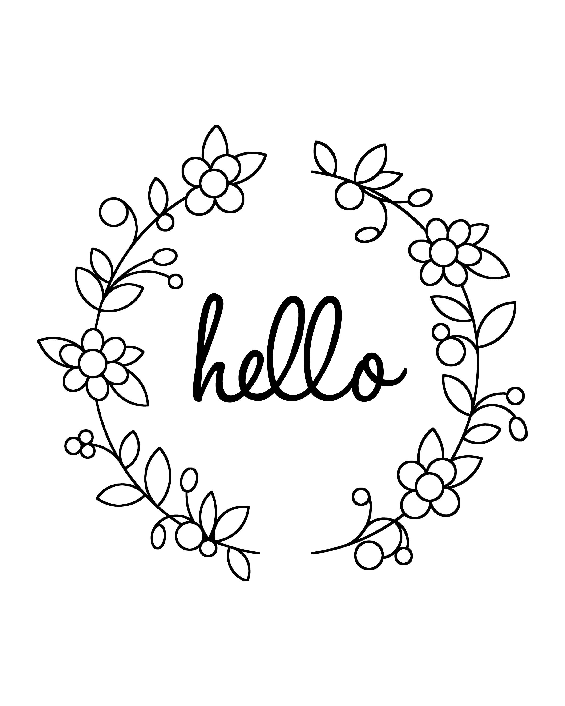 Printable Art Hello With Doodle Wreath Find Out More Http Www Arrowhi Embroidery Patterns Free Hand Embroidery Patterns Free Embroidery Flowers Pattern