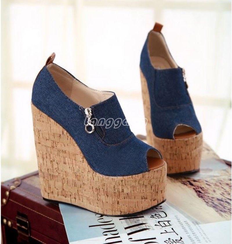 Fashion Womens Casual Denim Zip Platform Wedge High Heel Peep Toe Sandal  Shoes  Unbranded  PlatformsWedges  Casual 6ba8f2470ff