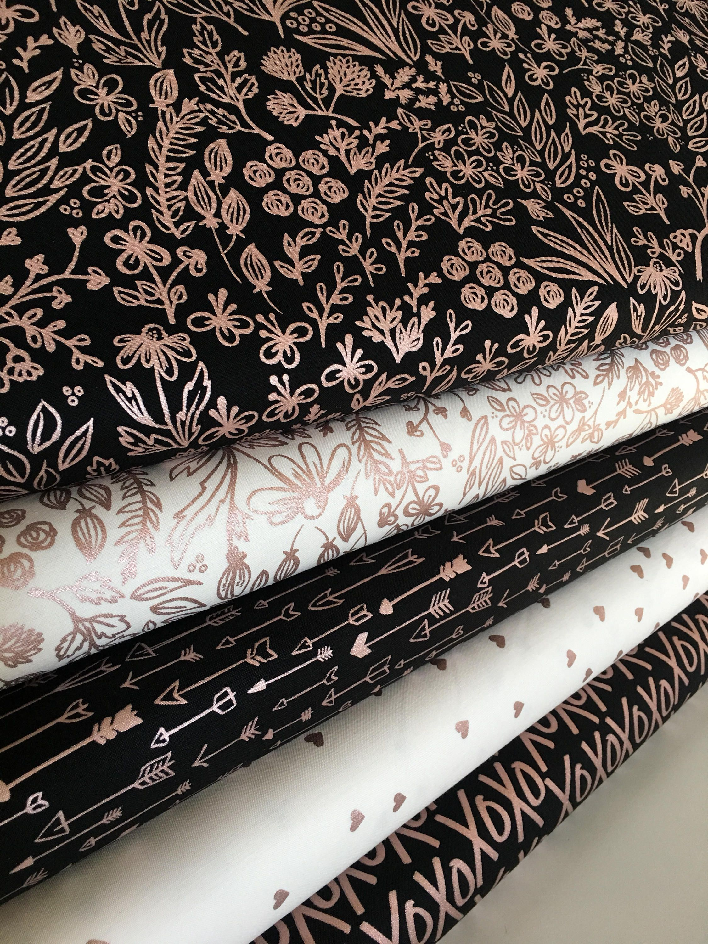 Rose Gold Fabric Modern Nursery Quilting Black White Decor Yes Please Bundle Of 5 Choose The Cuts By Fabricpe On Etsy
