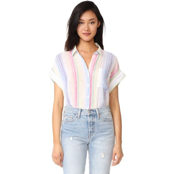 RAILS Whitney Button Down ($140) ❤ liked on Polyvore featuring tops,  rainbow stripe