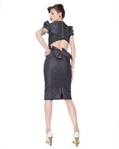 """Pin -Up  style """"Heartbreaker"""" fitted stretch denim pencil dress"""