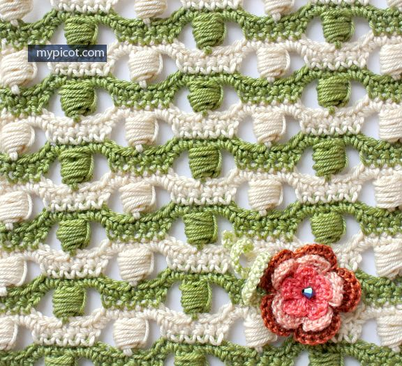 Openwork Bobble Stitch Crochet pattern Diagram + step by step ...