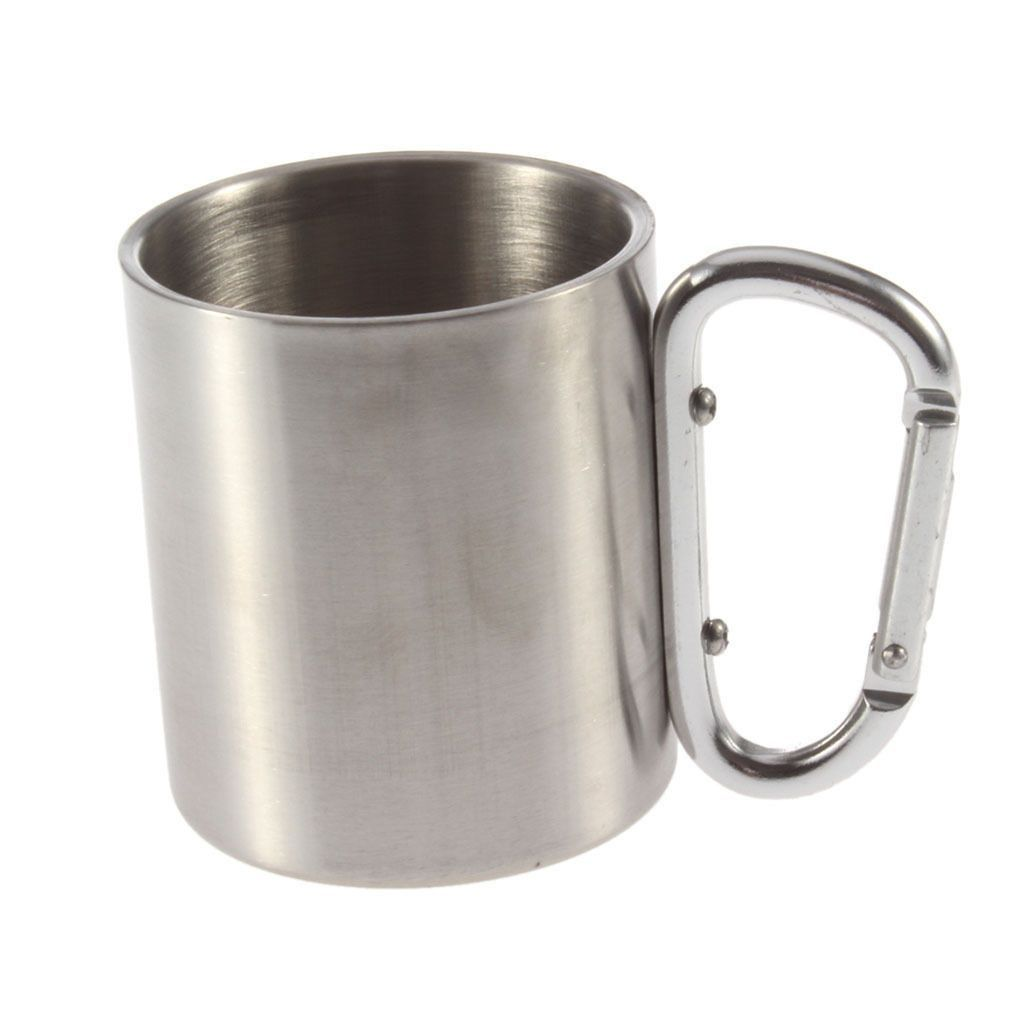Stainless Steel Camping Outdoor Portable Cup Carabiner Hook Coffee Mug - 50% Off