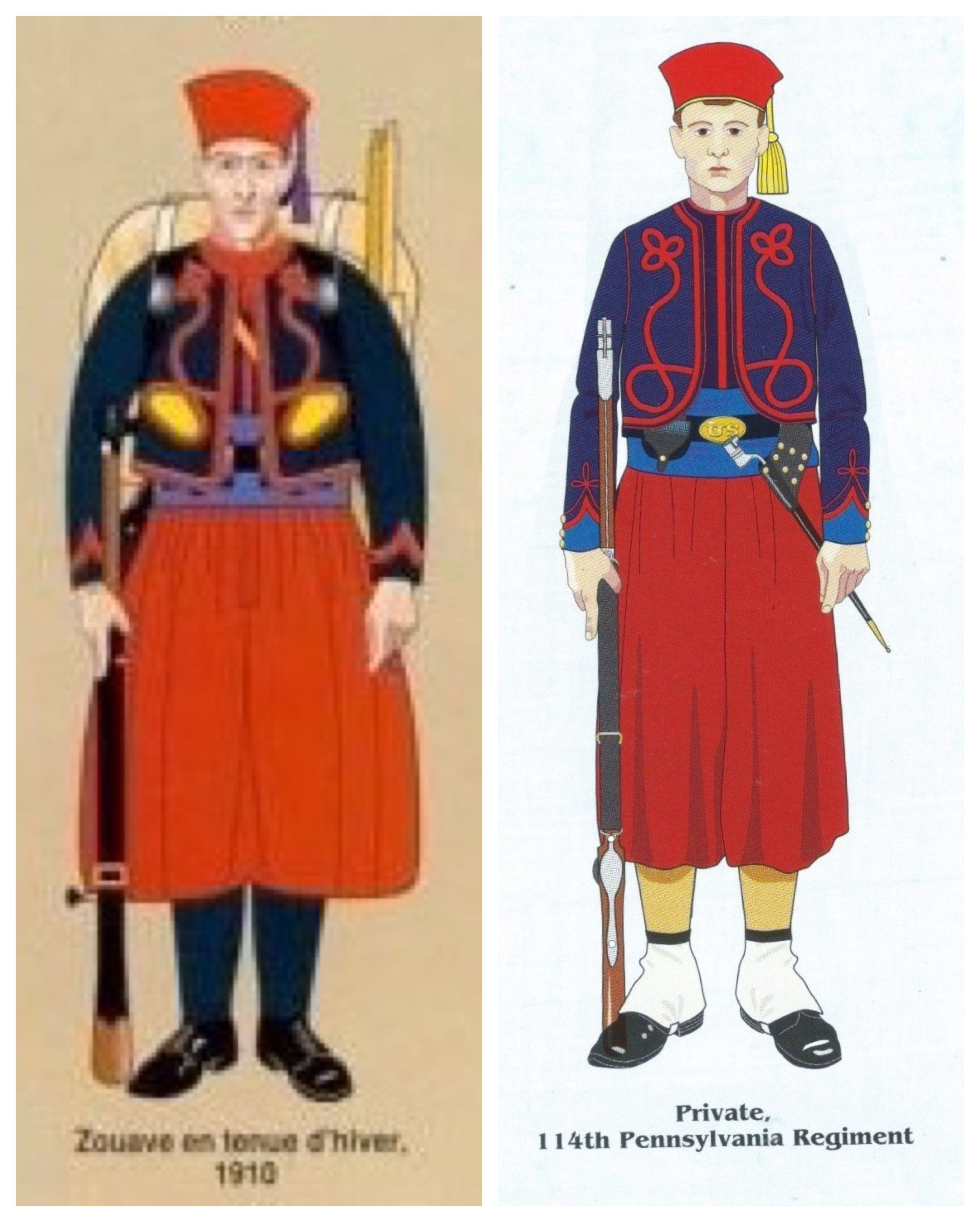 Comparing Uniforms Of The American Civil War Zouaves Uniform With The Traditional French