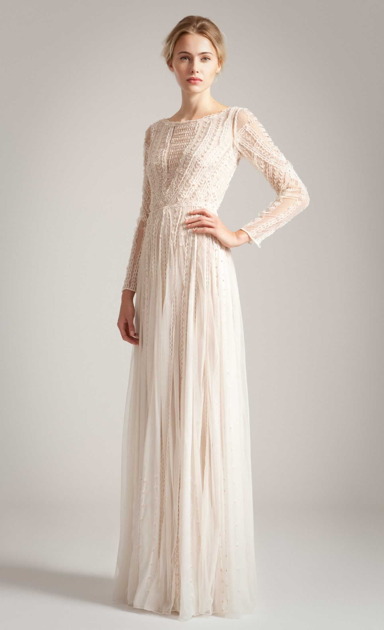 Temperley london Long Christa Dress in Beige | Lyst
